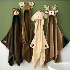 Kids Moose Hooded Towel Brown