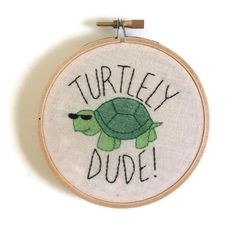 Turtley dude embroidery, turtle embroidery, embroidered wall art, embroidery hoop art, hoop art by WeeniesEmbroidery on Etsy https://www.etsy.com/listing/256937401/turtley-dude-embroidery-turtle