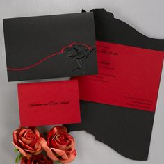 A black wrap is embossed with a pearl rose for a dramatic way to present your invitation. The curved edges of the wrap open to reveal your wording printed on a red card inside. Red outer envelopes are included.