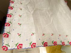 White Hankie with Embroidered Red Roses Handkerchief