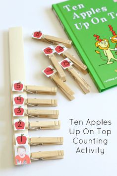 Ten Apples Up On Top book extension activity that teaches counting and number recognition from Mom Inspired Life