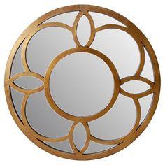 Geometric wood overlay and mirror.