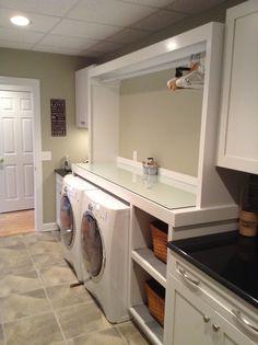 Love my laundry room :) Paint color- Logan Square by Valspar Laundry Nook, Laundry Room Organization, Laundry In Bathroom, Small Bathroom, Bathroom Ideas, Room Paint Colors, Paint Colors For Home, Shower Remodel, Valspar