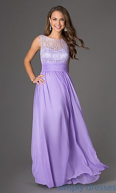Sleeveless Floor Length Lace Embellished Dress at SimplyDresses.com