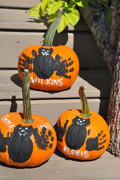 The Little Nook, pumpkin painting craft  LOVE this! I think I want to make on the fake pumpkins so I can keep them!
