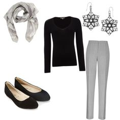 December 2nd- Black Shirt- (Lands End) $20.00, Grey Dress Pants- (Old Navy) $25.00, Black Flats- (Payless) $9.99, Grey Scarf- (5 Below) $5.00, Silver Earrings- (Marshall's) $15.00 Total- $74.99 Keywords- work clothes, professional, work attire, work outfit