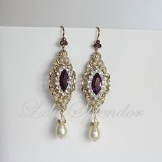 Gold Wedding Earrings, Amethyst Crystal Earrings Purple Rhinestone Bridal earrings Filigree Earrings Vintage Wedding Jewelry BELLA