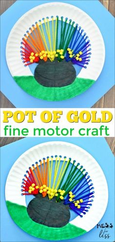 This pot of gold craft is designed to help kids have fun this St. Patrick's Day while working on their fine motor skills. This pot of gold craft is designed to help kids have fun this St. Patrick's Day while working on their fine motor skills. March Crafts, St Patrick's Day Crafts, Spring Crafts, Holiday Crafts, Fun Crafts, Arts And Crafts, Creative Crafts, Craft Activities, Preschool Crafts