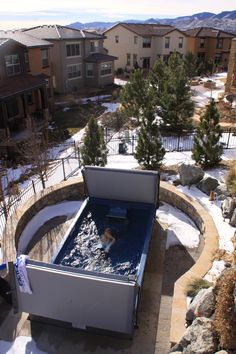 Surrounded by snow? Not a problem with the Endless Pool Swim Spa. Pull back the bi-fold cover to enjoy swimming year-round, no matter the weather!