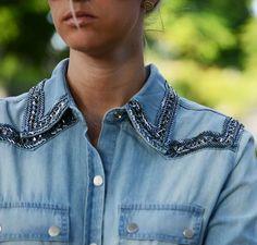 Camisa jeans bordada BoBo Diy Clothing, Custom Clothes, Jeans Refashion, Denim Ideas, Denim Crafts, Embellished Jeans, Love Jeans, Embroidered Jacket, Denim Shirt