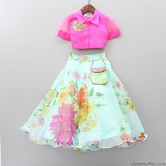 Pre Order: Hot Pink Knotted Top With Aqua Green Printed Lehenga Source by manishabahal Blouses Kids Party Wear Dresses, Kids Dress Wear, Baby Girl Party Dresses, Kids Gown, Little Girl Dresses, Birthday Dresses, Girls Frock Design, Baby Dress Design, Kids Frocks Design