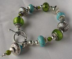 Turquoise Lampwork. Lime Lampwork.  Lampwork bracelet. Silver. Lampwork bracelet. Tiffany Blue bracelet. European style
