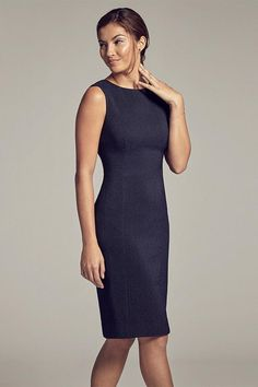 This dress is a win-win. Its clean lines are simultaneously curve-flattering and elongating, and the textured Italian jacquard keeps your silhouette smooth.