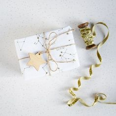 GOLDEN CONSTELLATIONS WRAPPING Paper. Gold Metallic Star White Gift Wrap Set Tags String Unique Holiday Giftwrap Christmas Stars Astronomy