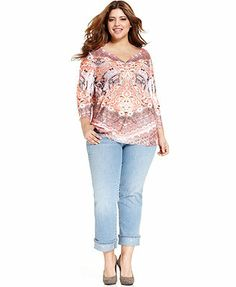 Style&co. Plus Size Three-Quarter-Sleeve Sublimated-Print Top & Studded Cuffed Cropped Jeans
