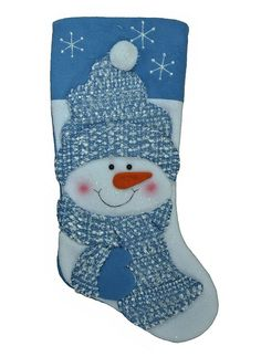Whimsical Snowman Christmas Stocking Blue Knit Hat and Scarf 18 in. Christmas Sewing, Blue Christmas, Christmas Items, Christmas Projects, Snowman Christmas Decorations, Felt Christmas Stockings, Christmas Snowman, Christmas Ornaments, Blue Mittens