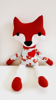 Fox Plush Doll Woodland Fox Softie Fox Soft Animal by TashiBear #woodland #fox #handmade