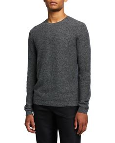 Theory Men's Medin Solid Cashmere Crewneck Sweater In Grey Mix Crewneck Sweater, Grey Sweater, Pullover Sweaters, Theory, Cashmere, Crew Neck, Mens Fashion, Long Sleeve, Sleeves