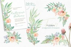 Lovely watercolor bouquets, ready to use in your next wedding invitation project