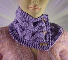 KNITTING PATTERN COWL  Luciana Cowl with wooden by LiliaCraftParty
