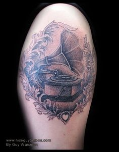 Phonograph tattoo by Guy Waisman.