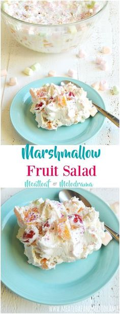 Marshmallow Fruit Salad - A light, fluffy fruit salad that's easy to make and perfect for Easter, spring or any holiday brunch or dinner. Even the Kids can make it. An easy holiday side salad made with whipped topping, canned fruit and mini marshmallows Jello Recipes, Fruit Salad Recipes, Dessert Recipes, Jello Salads, Easy Fruit Salad, Hawaiian Fruit Salad, Dessert Simple, Marshmallow Recipes, Summer Salads