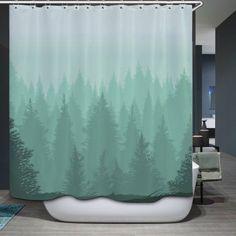 Fog Forest Print Fabric Bathroom Shower Curtain - GREEN W71 INCH * L79 INCH