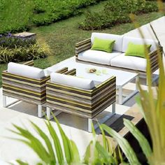 Stripe Lounge Chair Outdoor Sofa, Outdoor Furniture Sets, Outdoor Decor, Better Weather, Stylish Chairs, Upholstery, Lounge, Inspiration