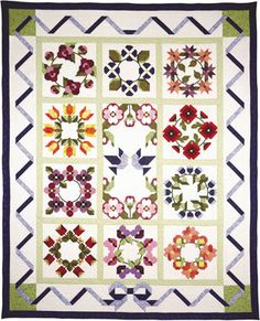 """Out Of The Darkness/A New Beginning was created right after 9/11 - by Pam Bono.  The ten 18"""" quilt blocks may be interchanged with the Pieces Of Baltimore quilt blocks.  Bow border quilt finishes to: 84"""" x 104""""."""