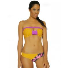 Mustard Mermaid Bow Bandeau and Orchid Slashed Bottom - Ao de clo | Swimwear