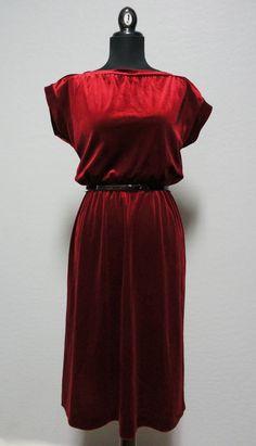 Vintage 1960s Deep Burgundy Velvet Cap Sleeve Dress Size 10 / M Pinup Rockabilly #ceelostintime