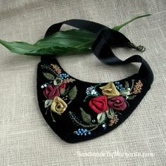 Handmade textile ribbon and beed embroidered necklace $44 #Handmade, #Necklace, #Embroidering,  #Jewelry, #Jewellery, #Gift, #Accessories, #Textile Handmade Accessories, Margarita, Jewelery, Ribbon, Textiles, Gifts, Jewlery, Tape, Presents