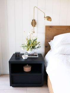 Home Decoration Quotes With no electrician needed so its easy to install!Home Decoration Quotes With no electrician needed so its easy to install! Bedside Table Styling, Bedside Table Decor, Lamp Table, Black Nightstand, Black Bedside Tables, Modern Bedside Table, Bedside Lighting, Bedside Wall Lights, Wall Lighting
