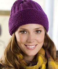 Easy Cuffed Hat Knitting Pattern   Red Heart
