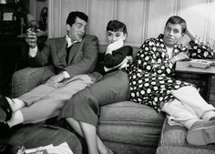 Audrey Hepburn hangs out with Dean Martin and Jerry Lewis at Paramount Studios, 1953, by Bob Willoughby.