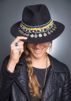 Boho hat. Embellished fedora hat. Ethnic chic