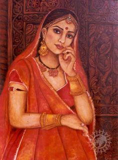 Shuchi Krishan - oil paintings on ancient Indian architecture and of the world, contemporary Indian woman, harelis and forts of Rajasthan, mud and glass murals. Indian Women Painting, Indian Paintings, Portrait Paintings, Oil Paintings, Indian Artwork, Easy Rangoli Designs Videos, Rajasthani Painting, Indian Folk Art, India Art