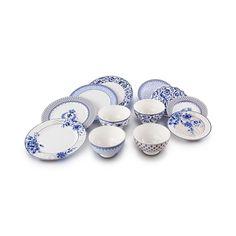 Jogo de jantar mix and match chinoiserie bleu em porcelana 12 peças