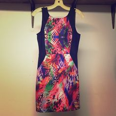 Forever 21 dress Sleeveless abstract animal print dress with contrast side panel for a bodycon silhouette and v-back. Never worn with tags. Forever 21 Dresses Mini