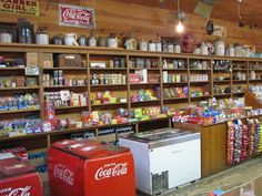 "Looks like our old Coca-Cola ""box"" and ice cream ""box"" at Leopard's Grocery in Argo, Alabama back in the day. Old General Stores, Old Country Stores, Country Life, Old Gas Stations, Store Displays, Retail Displays, Booth Displays, Jewelry Displays, Merchandising Displays"