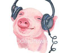 Acuarela de cerdo  impresión 11 x 14 pintura espolvorear