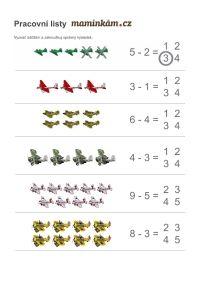 Working sheets for preschoolers - counting to 10, Pracovní listy pro předškoláky - počítání do 10