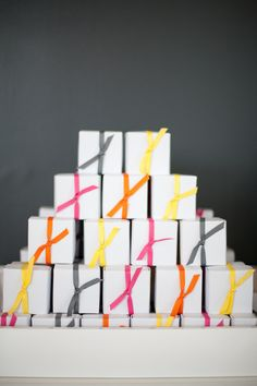 Ribbons offer a fun way to add color to our pie boxes and gift them as favors to guests at events