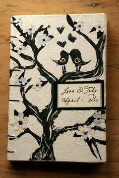 Black and White Wedding Love Bird Book Guest Book by bindingbee,