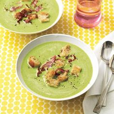Want a delicious, light soup? Try this Spring Pea Soup with Frizzled Ham!