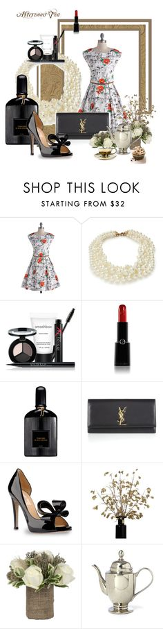 """A Little Night Music"" by megschritt ❤ liked on Polyvore featuring Louche, J.Crew, Smashbox, Giorgio Armani, Tom Ford, Yves Saint Laurent, Valentino, Jayson Home and Miss Etoile"