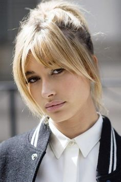 Hailey Baldwin - blond hair - long bangs