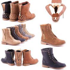 Damen Boots Stiefel Reißverschluss Stiefeletten Nieten Schnürer Schuhe gefüttert