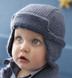 Model aviator hat baby - Baby Knitting patterns - Phildar I like this baby isn't he precious Baby Knitting Patterns, Baby Hats Knitting, Knitting For Kids, Knitted Hats, Crochet Baby, Knit Crochet, Aviator Hat, Baby Coat, Diy Hat