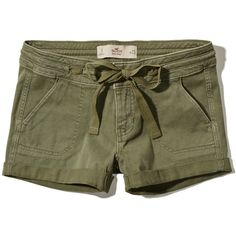 Hollister Low Rise Military Twill Shorts (660 RUB) ❤ liked on Polyvore featuring shorts, hollister, olive, twill shorts, military shorts, hollister co. shorts, army green shorts and olive shorts